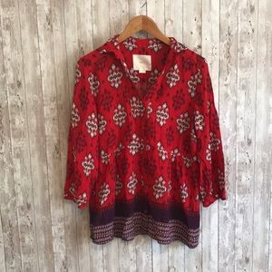 Anthropologie Maeve red and purple blouse
